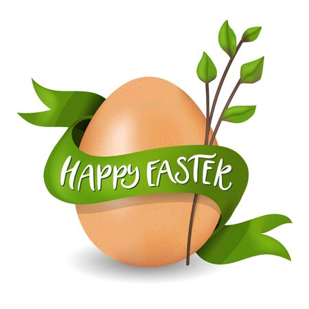 Happy Easter golden egg vector illustration. Realistic 3d painting with real egg, ribbon, and Happy Easter quote. Greeting color card template. Çizim