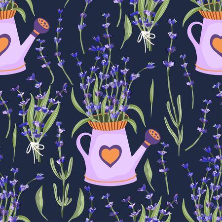 Lavender bouquet in watering can basket, vase blossom flower summer art