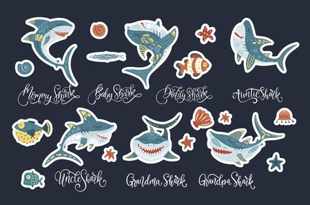 Happy shark flat vector sticker set with lettering text quotes . Underwater fish animal family cute collection in a flat style. Baby, mommy, daddy, sister and brother shark doo doo doo.