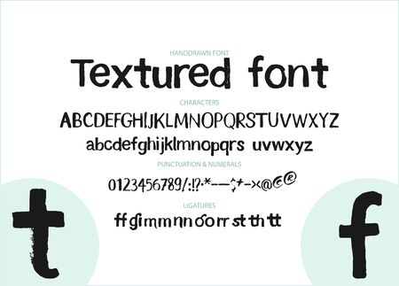 Textured calligraphy hand drawn alphabet. Rough grunge font. Latin typeset with letters and numbers.