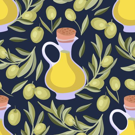 Provence Italian or Greece green olive seamless vector pattern.