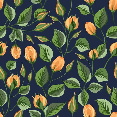 Yellow rose flower vector seamless pattern in a flat style. Çizim