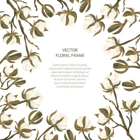 Floral greeting card vector template. Frame with hand drawn cotton flowers illustrations in a flat style and place for your text.