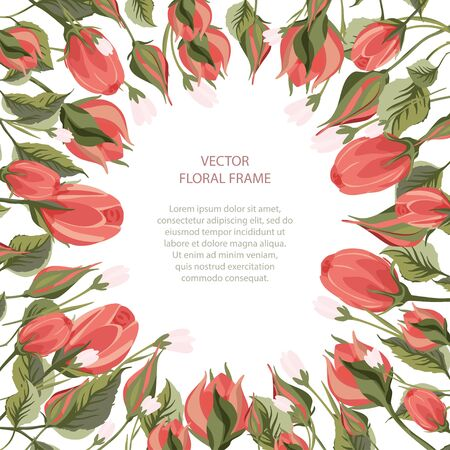 Floral greeting card vector template. Frame with hand drawn leaves and wild field and rose flowers illustrations in a flat style and place for your text.