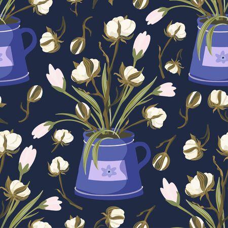 Cotton flower vintage vector seamless pattern.