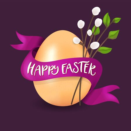 Happy Easter golden egg vector illustration. Realistic 3d painting with real egg, willow, ribbon and Happy Easter quote. Greeting color card template. Çizim