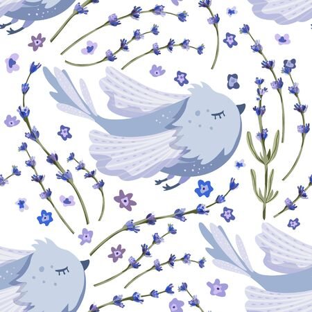 Provence seamless vector blue bird pattern in a flat style.