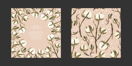 Floral greeting card vector template