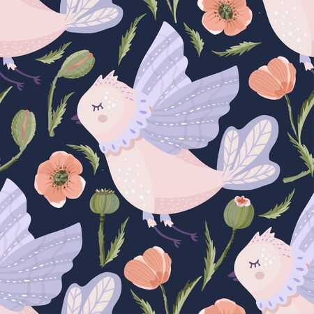 Provence seamless vector cute bird pattern with wild poppy flower in a flat style.