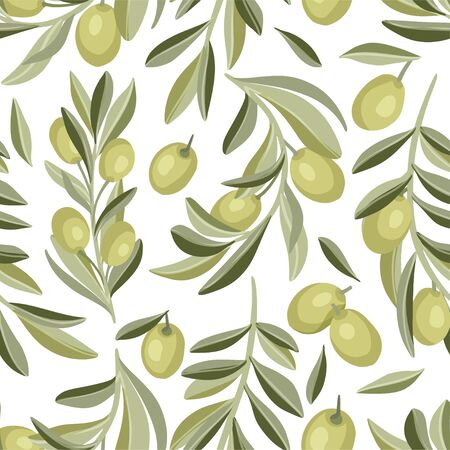 Provence Italian or Greece Mediterranean green olive seamless vector pattern.