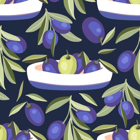 Provence Italian or Greece green and black olive seamless vector pattern.