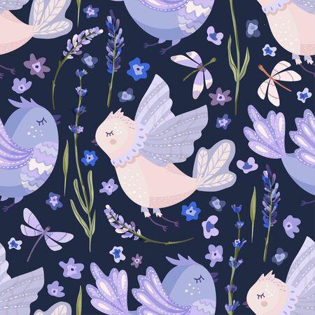 Provence seamless vector bird pattern in a flat style. Çizim