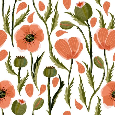 Poppy flower seamless vector pattern with petals in a flat style.
