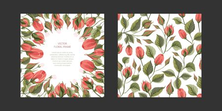Floral greeting card vector template.