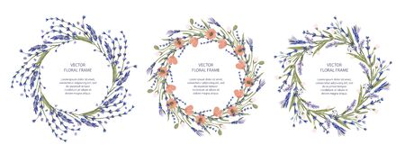 Wreath vector frame floral card set. Greeting template collection in a flat style.