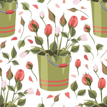 Red rose and wild flower bucket bouquet vector seamless pattern in a flat style.