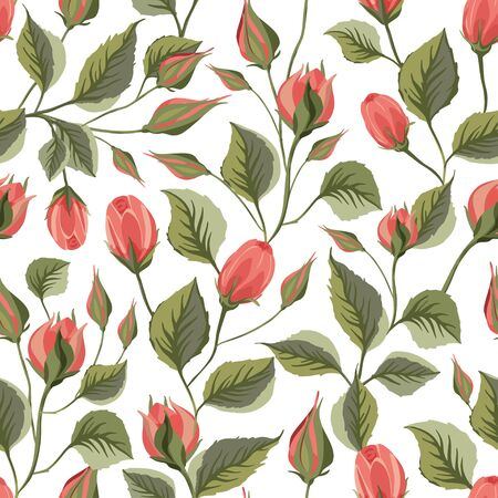 Red rose flower vector seamless pattern in a flat style.