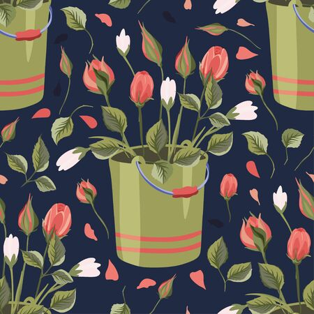Red rose and wild flower bucket bouquet vector seamless pattern in a flat style. Provence romantic floral illustration. Botanical beautiful flora art.