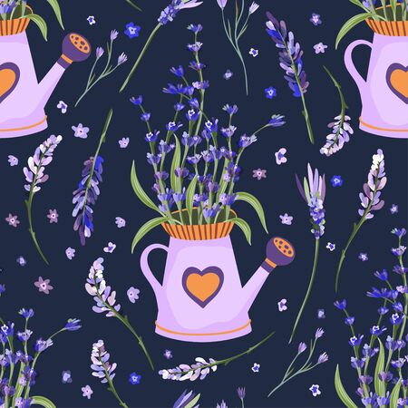 Provence seamless vector vintage pattern in a flat style. Lavender bouquet in watering can basket, vase blossom flower summer art on a white background.