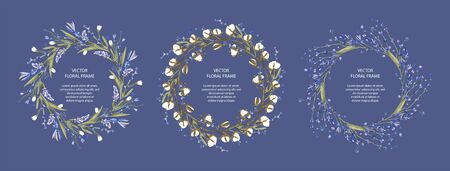 Wreath vector frame floral card set. Greeting template collection in a flat style. Circle wedding or birthday romantic background with cotton and lavender. Çizim