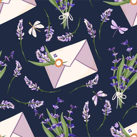 Provence seamless vector vintage pattern in a flat style. Lavender blossom flower bouquet summer art with envelope letter and butterfly.