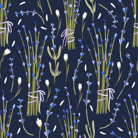 Provence seamless vector vintage pattern in a flat style. Lavender Lavender and wild flower blossom bouquet summer art on a blue background.