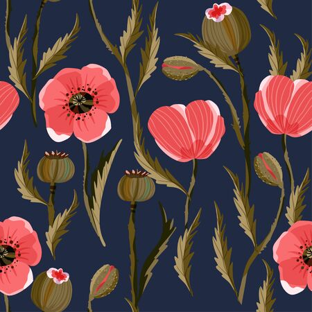 Poppy flower seamless vector pattern in a flat style. Summer Provence blossom wallpaper, wild and garden flora on a dark background.