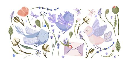 Provence floral vector set. Big flat collection with cute hand drawn bird, poppy and lavender with other elements. Animal, flowers and love envelope letter.