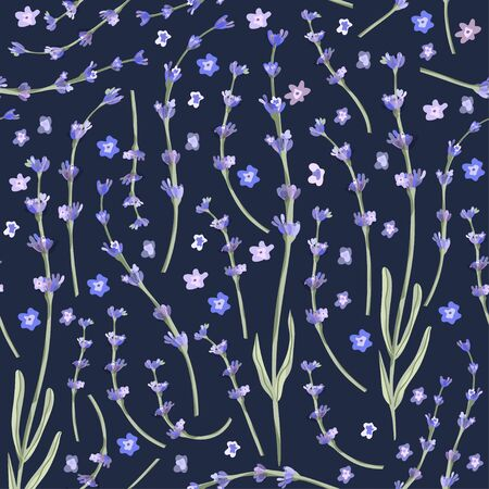 Provence seamless vector vintage pattern in a flat style. Lavender blossom flower summer art on a blue background. Meadow botany spring wallpaper.
