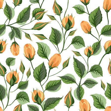 Yellow rose flower vector seamless pattern in a flat style. Provence romantic floral illustration. Botanical beautiful flora art on a white background. Иллюстрация