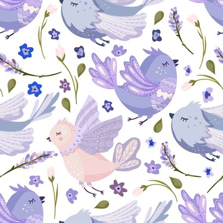 Provence seamless vector bird pattern in a flat style. Lavender blossom flower summer art and cute hand drawn animal on a white background. Иллюстрация