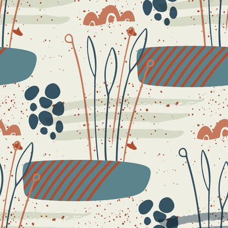 Floral seamless pattern. Abstract vector illustration with hawai botanical simple leaves ans shapes. Flat and Hand drawn brush ink textured art with tropical background.
