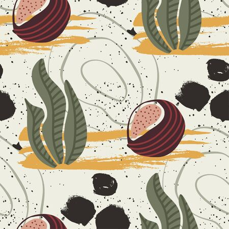 Floral seamless pattern. Abstract vector illustration with hawai botanical leaves and exotic coconut fruit. Flat and Hand drawn brush ink textured art with tropical background. Illustration