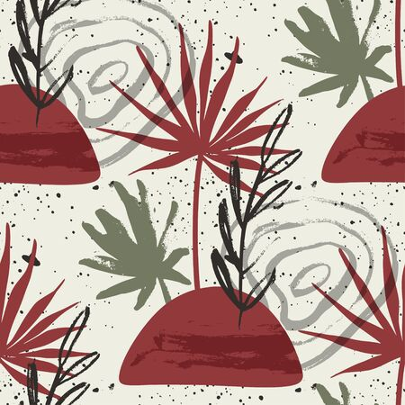 Floral seamless pattern. Abstract vector illustration with hawai botanical palm leaves. Flat and Hand drawn brush ink textured art with tropical background.