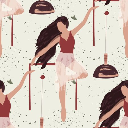 Ballet dancer girl seamless pattern. Abstract vector illustration. Flat and Hand drawn brush ink textured art. 向量圖像