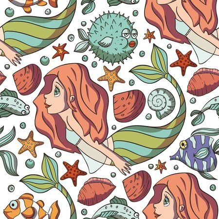 Seamless pattern with cute mermaids. Hand drawn childish vector illustration. Underwater girl vector trendy texture is perfect for fabric, textile and wrapping. Fantasy marine kid art.