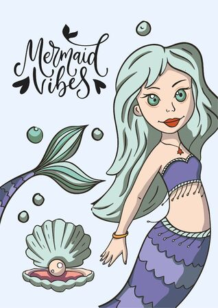 Mermaid vibes. Lettering vector mermaid summer card with cute illustration and hand drawn calligraphy greeting quote.