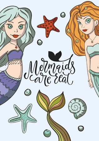 Mermaids are real. Lettering vector mermaid card with cute sea illustration and hand drawn calligraphy greeting quote.