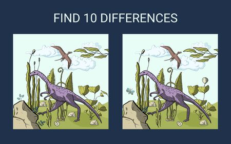 Dino illustration. Find 10 differences. Educational funny game for children. Puzzle for children, kid. Print and play. Cartoon vector illustration. Illustration
