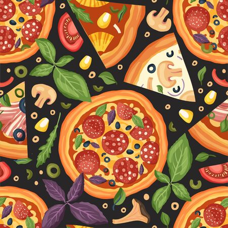 Italian cheese pizza vector illustration. Delicious tasty snack with salami, mushrooms and bacon. Seamless pattern with meat and greens. Flat design.