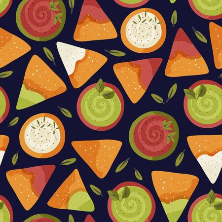 Nacho seamless vector pattern. Traditional Mexican tasty snack illustration with tomato, cheese and avocado sauce. Cartoon background in a flat style.