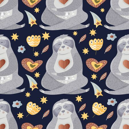 Cute sloth meditates among flowers. Yoga cartoon vector seamless pattern in a flat style. Slow lazy animal nature kid print on a dark background.