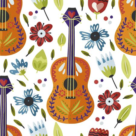 Mexican guitar hand drawn vector seamless pattern in a flat style. Cartoon fiesta party music background with flowers. Cinco de Mayo colorful illustration. Ilustração Vetorial