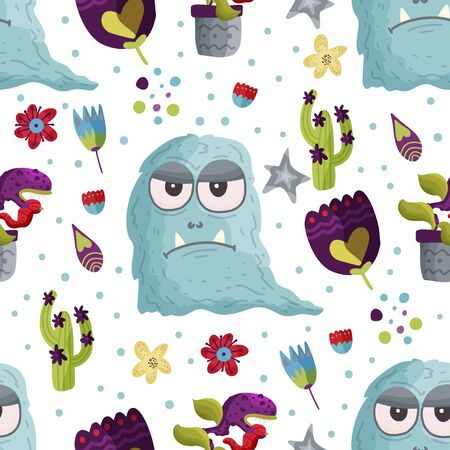 Cute cartoon monster vector seamless pattern in a flat style. Funny kid alien character background. Mutant beast animal comic wallpaper on a white background.