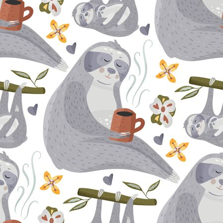 Cute sloth drinking tea or coffee. Cartoon vector seamless pattern in a flat style. Slow lazy animal nature kid print on a white background.