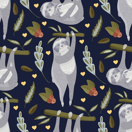 Cute sloth cartoon vector seamless pattern in a flat style. Slow lazy animal family nature kid print on a dark background.