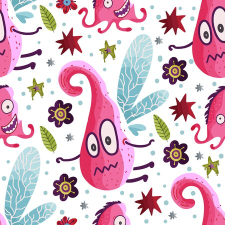 Cute cartoon flying monster vector seamless pattern in a flat style. Funny kid alien character background. Mutant beast animal comic wallpaper on a white background.