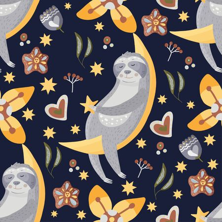 Cute sloth on a moon. Cartoon vector seamless pattern in a flat style. Slow lazy animal with hearts, stars and flowers, nature kid print on a dark background.