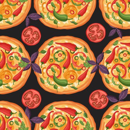 Italian cheese pizza vector illustration. Delicious spicy chili pepper tasty snack seamless pattern. Cayenne, tomato and basil flat design. Ilustração