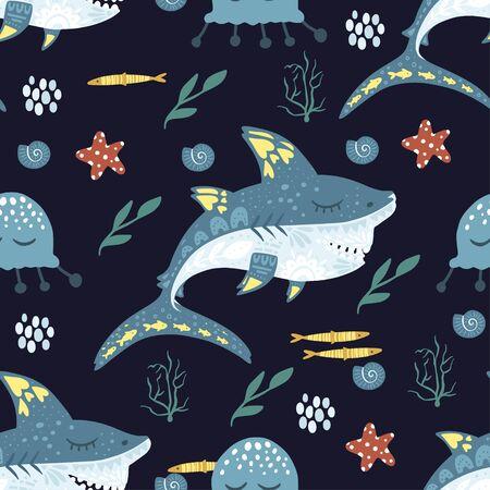 Underwater cartoon funny shark fish seamless animal vector pattern. Ornate kid sea illustration in a flat style. Tropical ocean cute summer background.